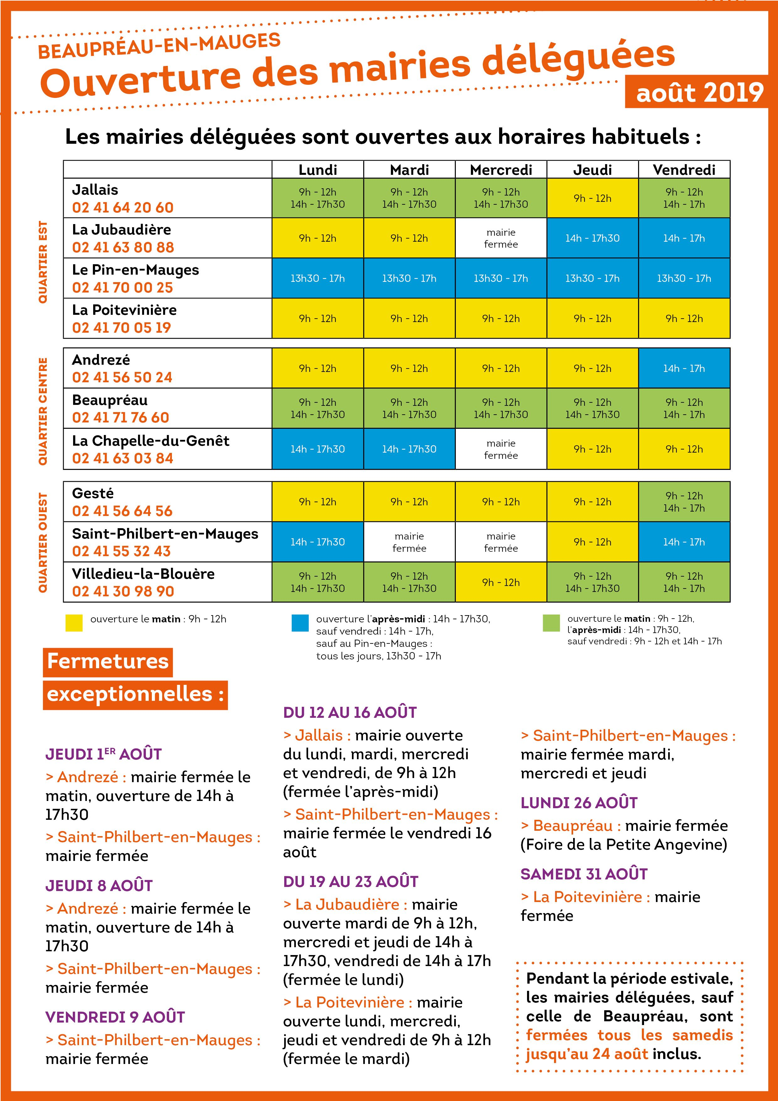 Horaires mairies aout2019